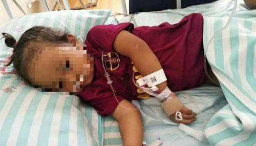 云南一2岁女孩吃菌中毒被紧急送往昆明抢救 交警发起爱心接力